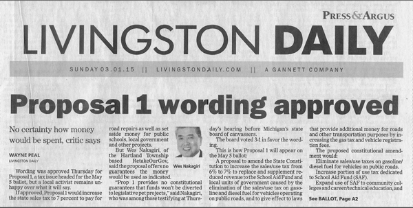 Headline from the Sunday March 1 edition of the Livingston Press